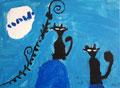 Chats de Pauline , 5 ans et demi (acrylique)