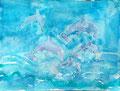 Dauphins de Nawfel, 5 ans et demi (aquarelle sur papier)