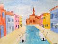 Burano, aquarelle sur papier de Chloé, 13 ans et demi