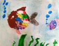 Poissons de Clément 5 ans et demi (aquarelle sur papier)