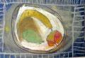 assiette avec fruits, pastel de Clément, 5 ans et demi