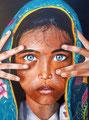Portrait à l'acrylique, Adèle B., 16 ans