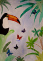 Toucan, aquarelle de Salomé, 10 ans
