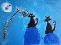 Chats de Manon, 6 ans (acrylique)