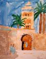 La Koutoubia, (Marrakech), aquarelle de Clément 8 ans