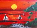 Coucher de soleil de Salomé, 10 ans, acrylique