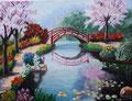 Jardin japonais, Mathilde, 15 ans et demi (acrylique sur toile)