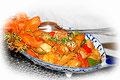 Hühnerfleisch mit Zitronengras und Gemüse