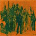 2004 Menschen orange-grün 60x60cm