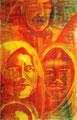 1998  Gesichter gelb-rot 36x57cm