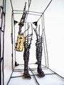 The traveller II- Size (cm): 60x40x20 -metal artwork steel sculpture