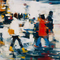 Die Sammler, 40x40 cm, 2016, Öl auf Leinwand