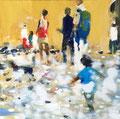 Geile gelbe Wand, 40x40 cm, 2015, Öl auf Leinwand
