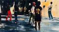 Die Nelkenrevolution, 90x160 cm, 2014, Öl auf Leinwand