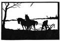 """Bauer beim Pflügen"" Blatt 2 Paul Friedrichsen Orig. Handschnitt 1922"