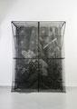 """One: Variations on True Lovers Knot"". Screen, fabric, vinyl, thread, inkjet print, acrylic gloss medium, iron-on transfer, aluminum, and wood. 8' H x 6' W x 3' D. 2010"