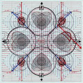 """""""Nuclear Hearts: Concept Sketch #1"""". Ink, ballpoint pen on graph paper. 8"""" x 8"""". 2010"""