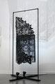 """Two: Loop"" (detail). Unryu paper, screen, wood, metal, microfilament, magnets, rhinestones, mylar, acrylic paint. 7.5' H x 4' W x 4' D. 2013-2014"