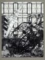 """Ruins""(Sketch).  Inkjet print, ink, collage. 14"" x 11"". 2013"