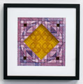 """True Lovers Knot: Separation #2"". Cut paper, inkjet print, origami mesh, acetate. 12"" x 12"". 2014"