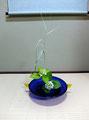 縞葦 紫陽花 瑠璃ガラス金耳付き
