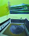 無愛想な界隈 72.7×60.6㎝ アクリル絵の具、木炭・キャンバス