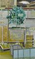 平常の突発 53×32㎝ 油絵の具・木製パネルに紙