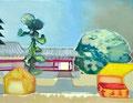 ばらばらの縁 31.8×41㎝ 油絵の具・木製パネルに紙