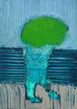 雨の瓜 21×15㎝ 油絵の具・木製パネルに紙