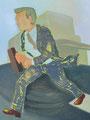 疾走に纏う衣 90×61㎝ 油絵の具・木製パネルに紙