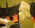 軌道修正   80.3×100.0㎝ アクリル絵の具、木炭・キャンバス