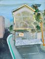 いにしえと青年の道 90×61㎝ 油絵の具・木製パネルに紙