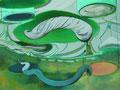 胡散臭い悦 46.0×61.0㎝ アクリル絵の具、クレパス・パネルに綿布