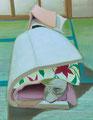 馴染み深い不詳 116.7×91㎝ 油絵の具・木製パネルに紙