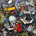 「集積するリズム」 116.7 x 116.7 cm シルクスクリーン、水彩絵具、油絵具、アルキド絵具、キャンバス Private Collection , USA