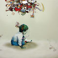 「ヒトリアソビ」 116.8 x 116.8 cm シルクスクリーン、色鉛筆、水彩絵具、油絵具、アルキド絵具、キャンバス  Private Collection, USA