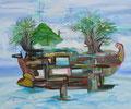 Kiribati Vessel  [AOC-3845-18]  | 2018 | Acrylic and Oil on canvas | 20 x 24 in (51 x 61 cm)