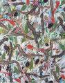 """""""Grey Rhizome""""   2010   Gouache, ink on paper   55 x 44"""" (140  x 112 cm)"""