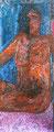 """52x124 """"Androgyne"""" acrylique-encre sur papier kraft marouflé sur bois  2014"""