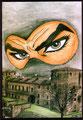 """Cartolina """"Comiconvention"""" Melegnano disegno di Gabriele Abiuso"""