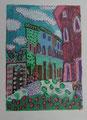 Postkarte teilweise übermalt - 16x12cm Mischtechnik