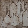 """Thomas Landt - """"Großstadt-Vasen"""" - Aquatinta-Radierung auf Bütten - 10x10 cm - 2007 - Auflage 4/10 - Sylt"""