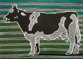 """homas Landt - Motiv 21 - """"Die Zeit der Kuh"""" - Farb-Linolschnitt - 21x15 cm - Kunstpostkarte - Sylt"""