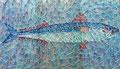 """Thomas Landt - """"Makrele im eigenen Netz"""" - Nägel + Seidengarn auf Treibholz  50 x 28 cm - 2015 - Sylt"""