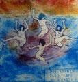"""Thomas Landt - """"Der Sonnen-Tanz"""" - Aquatinta-Farb-Radierung auf Bütten - 17x20 cm - 2008 - Auflage 6/10 - Sylt"""
