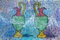 "Thomas Landt - ""Gullivers Vasen"" - Nägel + Seidengarn auf Treibholz - 42 x 28 cm - 2015 - Sylt"