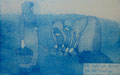 """Thomas Landt - Motiv 19 - """"Die Liebe zur Arbeit ..."""" - Aquatinta-Farb-Radierung - 21x15 cm - Kunstpostkarte - Sylt"""
