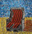 "Thomas Landt - Motiv 9 - ""Der Innere Strand-Korb"" - Farb-Linolschnitt - 21x15 cm - Kunstpostkarte - Sylt"