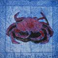 """Thomas Landt - """"Taschen-Krebs"""" - Aquatinta-Farb-Radierung auf Bütten - 10x10 cm - 2008 - Auflage 6/10 - Sylt"""