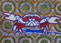 """Thomas Landt - """"Krustentier mit 5 Buchstaben"""" - Farb-Linoldruck auf Bütten - 30x42 cm - 2012 - Auflage 4/10 - Sylt"""